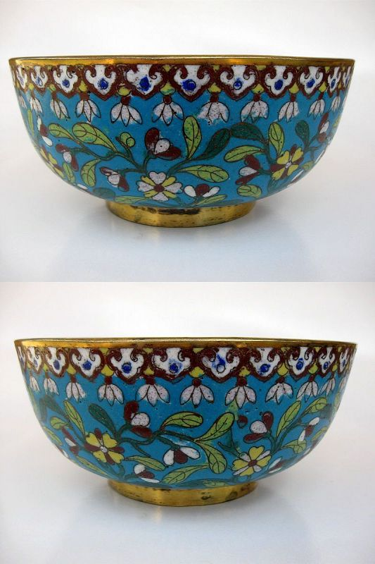 Chinese Cloisonné Bowl on Gilt Bronze