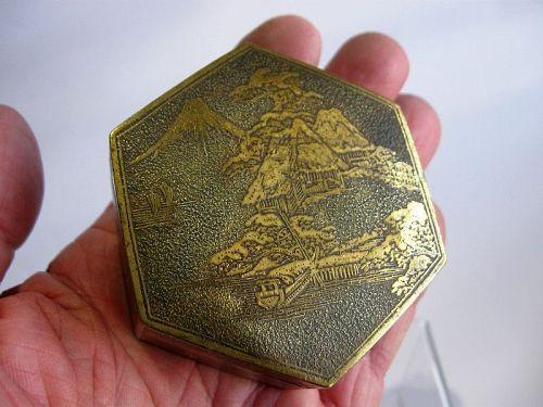 Japanese Metal Hexagonal Box