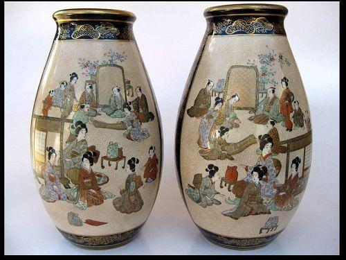 Japanese Pair of Satsuma Vases by Kinzan