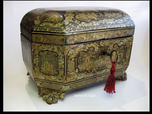 Chinese Lacquered Wood Tea Caddy, Complete