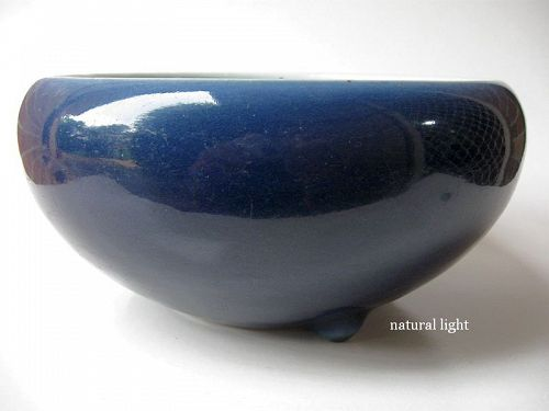 Large Chinese Kangxi Blue Monochrome Censer