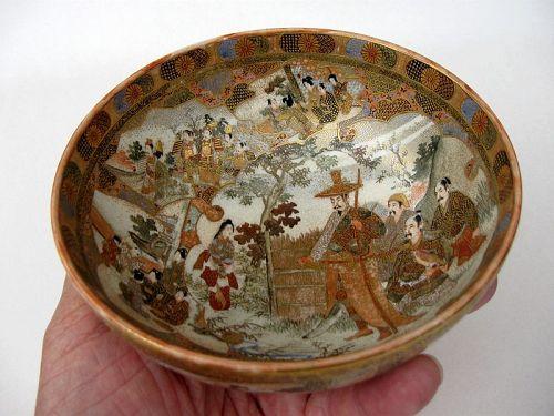 Japanese Satsuma Bowl by Hattori, Signed