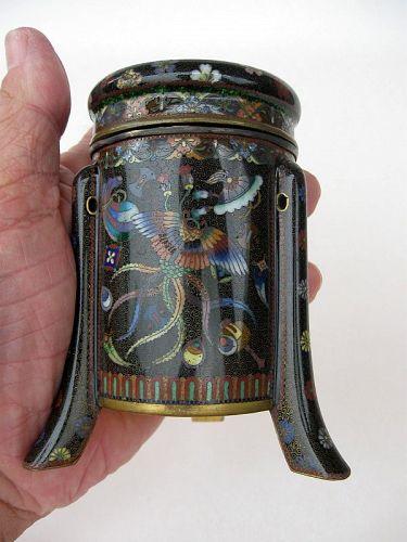 Japanese Cloisonne Tripod Lidded Pot
