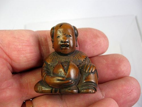 Japanese Wooden Netsuke of a Boy and a Persimmon, Signed