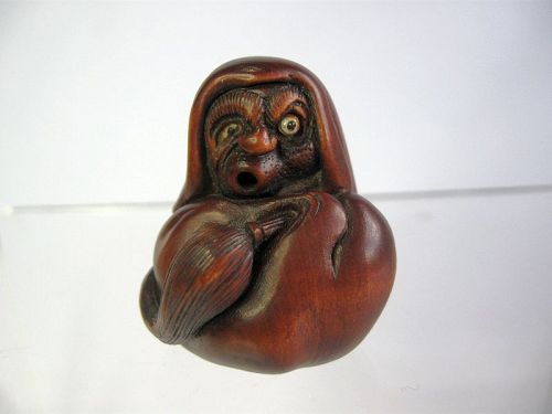 Japanese Wooden Netsuke of Daruma with Articulated Eye and Tongue