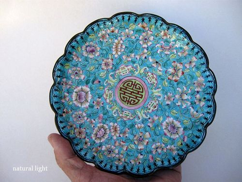 Chinese Cantonese Enamel Plate with Millefleur Decoration