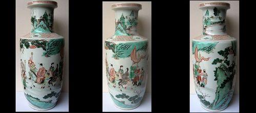 Chinese Porcelain Famille Verte Rouleau Vase