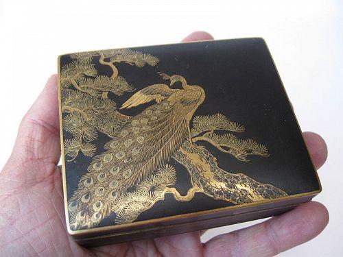 Japanese Komai Style Box with Peacock, Signed