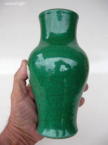 Chinese Porcelain Green Crackle Vase