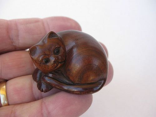 Japanese Wooden Netsuke of a Cat, Signed