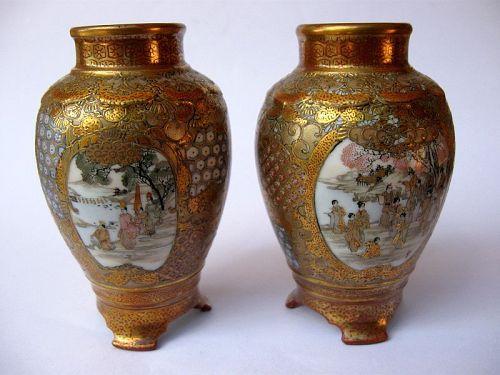 Japanese Pair of Kutani Satsuma Vases, Signed