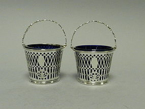 Pair English Sterling Cream Pails