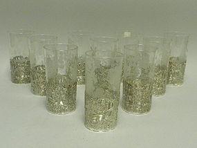 Set 10 German Sterling & Crystal Water Glasses C 1920