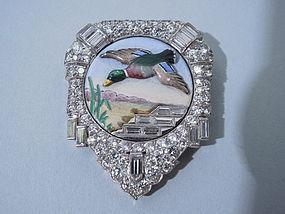 Art Deco Diamond and Enamel Clip Circa 1930 Yard