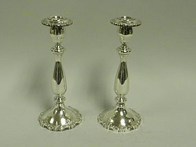 Pair Fisher English Rose Sterling Silver Candlesticks