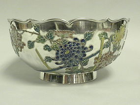 Chinese Silver and Enamel Centerpiece Bowl Circa 1910