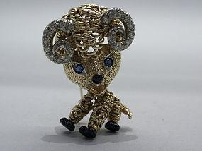 Van Cleef & Arpels Diamond Sapphire and Gold Ram Brooch