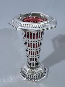 Tiffany Sterling Vase With Ruby Glass Insert Circa 1905