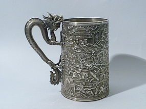 Large Chinese Export Silver Tankard, LeeChing, C 1860