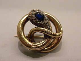 18k Gold French Snake Pin Victorian Circa 1870