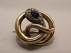 18k Gold French Snake Pin Victorian Circa 1870