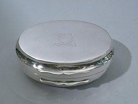 English Sterling  Silver Oval Box London 1924