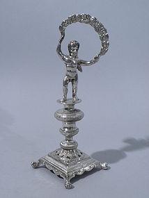 Portuguese Silver  Figural Putti Toothpick Holder 1850
