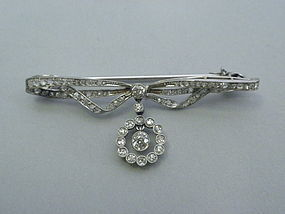 Edwardian Diamond and Platinum Bow Pin C 1900
