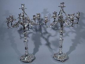 French Silver Louis XV Style Candelabra, Circa 1890