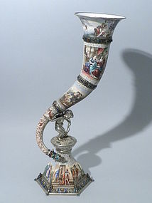 Viennese Enamel & Silver Cornucopia Vase Hermann Boehm