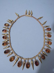 Antique French Citrine and Gold Necklace Circa 1870