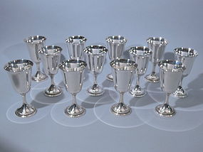 Set of Twelve Gorham Sterling Goblets  C. 1940