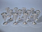 Set of Twelve Gorham Sterling Goblets  C. 1940