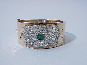 1940s Gold Bangle with Art Deco Diamond Emerald Plaque
