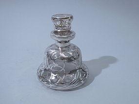 Art Nouveau Silver Overlay Perfume Bottle Circa 1900