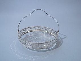 Theodore B. Starr Sterling and Etched Crystal Basket