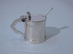 English Sterling Silver Mustard Pot with Spoon