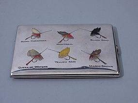 American Fly Fishing Enamel Sterling Cigarette Case