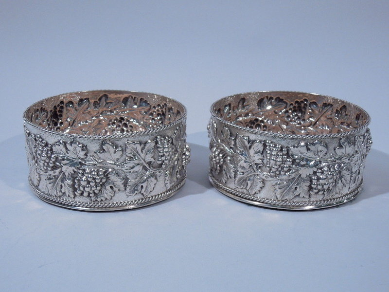 Pair of Kirk Sterling Silver Repousse Wine Coasters