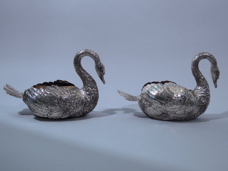 Pair Antique German Silver Figural Swans