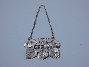American Sterling Silver Liquor Tag Scotch C 1920