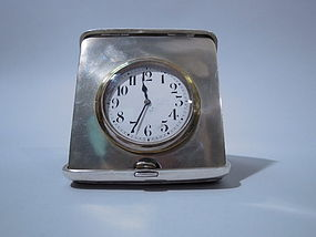 George V English Sterling Silver Traveling Clock 1911