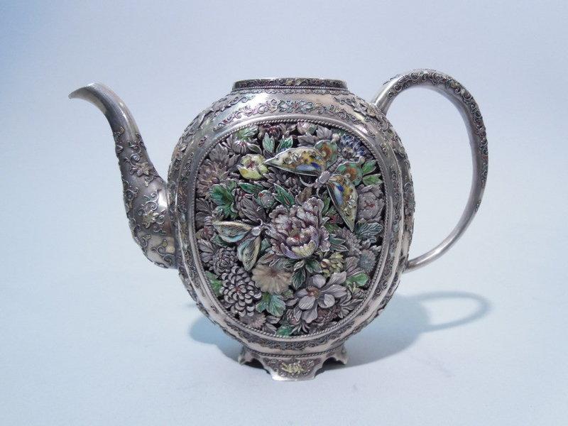 Finest Japanese Silver And Enamel Tea Pot Meiji Period