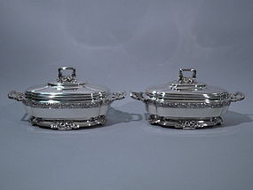 Pair of Antique Tiffany Sterling Soup Tureens C 1885