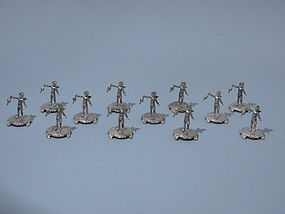 Set of 12 German Sterling Silver Cupids - Fun Figures
