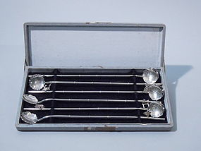Japanese Sterling Drink Stirrers Midcentury C 1950