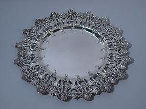 Tiffany American Sterling Silver Rococo Tray C 1900
