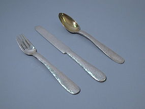 Antique Tiffany Craftsman Sterling Silver 3-Piece Youth Place Setting