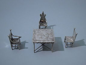 German 800 Silver Miniature Table Chairs C 1900