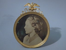 American Federal Gilt Bronze Circular Picture Frame